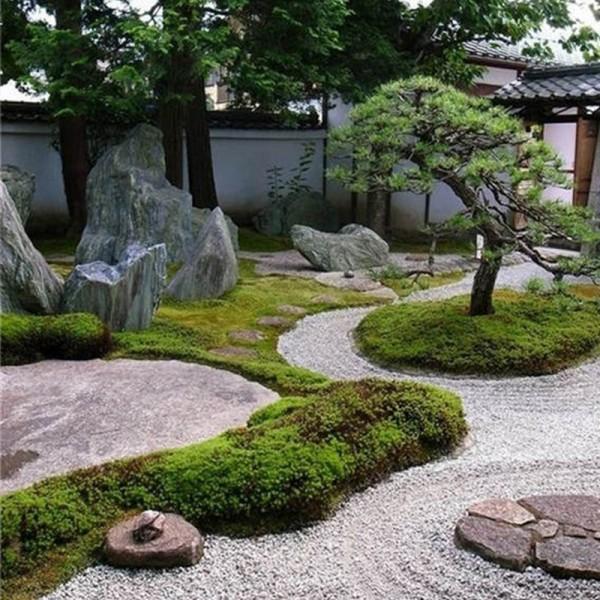 广东日式枯山水黑山石庭院点缀造景