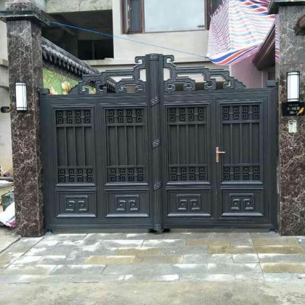 别墅铝艺庭院大门八字对双开大门铝合金庭院门